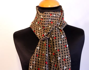 Scarf, Ascot, tie women, hearts patterns, Orange-Brown-Taupe .in net Viscose. Slice of wool