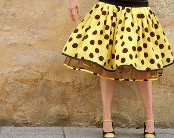 Retro Fifties New yellow large polka dot Brown skirt. Rock Rockabilly Swing skirt pleated skirt.