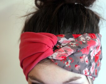 Headband fashion Turban, Retro pink hair and flowers made of Viscose and Cotton Jersey. Women flower headband.