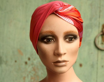 Headband for hair in the turban style crossed, Rose and Orange Bicolore in Lycra and cotton. Headband woman