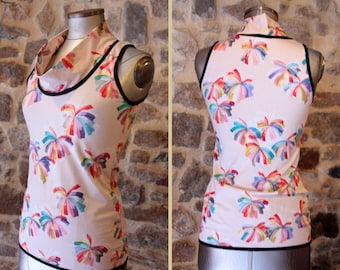 T Shirt tank top, pink peach flowers multicolored flame. Sleeveless Cotton Jersey top. Slice of wool