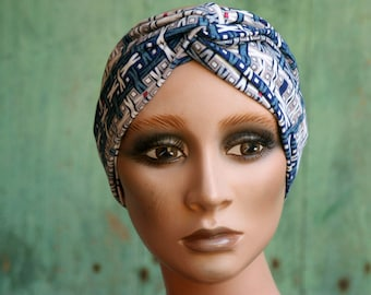 Women's headband with Blue and White Graphic patterns. Headband original hairstyle in cotton jersey. Tartine de Laine