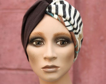 Turban twist bicolore Brown and Turquoise Brown White Foliage. Woman's headband