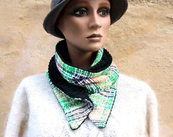 Button collar, tweed scarf In Tweed of Cotton Green White Black and Black Corduroy, Winter Scarf Collar.