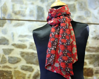 Scarf, Ascot, tie women, two-tone pattern Floral purple red viscose. Slice of wool