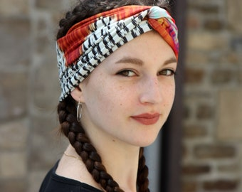 Turban headband-white-pink-orange brown ethnic patterned. Original hairstyle Jersey headband