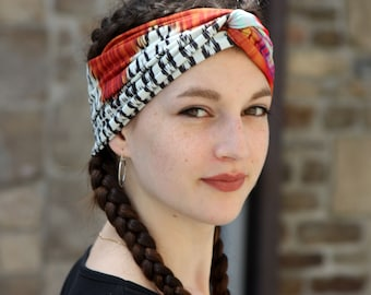 Turban headband with brown-white-pink-orange ethnic motifs. Headband original hairstyle in jersey