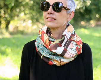 Infinite scarf or orange green women's shawl stole in pastel and floral tones. Light scarf. Tartine de Laine
