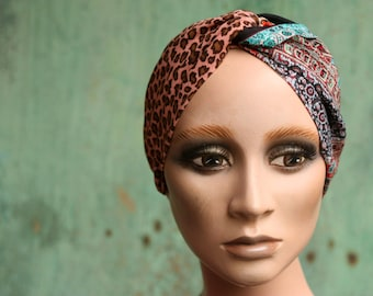 Bandeau-Turban woman Bicolore Panther Patterns and Kilim Patterns. Headband in Viscose and cotton.