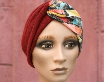 Turban Chiné Yellow-Orange Grey and Rust band in Jersey Lainage . Winter Band Woman Wool Tartine