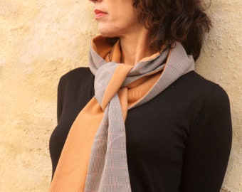 Women's scarf, Mixed scarf, Camel wool and Prince of Galle Wool and Cotton. Tartine de Laine