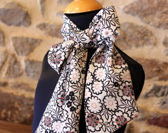 Long, Lavallière, Cravate Femme, Black-White Woman's Bow Tie and Viscose Crepe Rose.