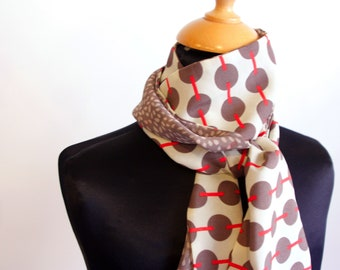 Scarf, Ascot, tie woman bicolor peas and satin Taupe - beige and Red coral retro tie made of Viscose. slice of wool