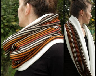 Shawl collar-neck scarf, striped tan-orange woolen Jersey hooded scarf