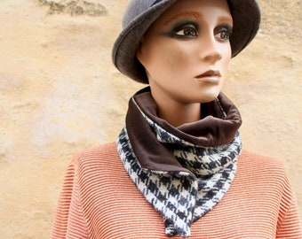 Button collar, wool and velvet collar scarf, Grey-Brun-Beige Rooster's Foot and Brown Velvet. Winter scarf collar.