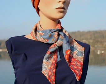 Scarf woman with flowers blue-Orange - Dore.en voile of cotton and viscose, boho scarf Tartine wool