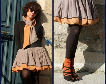 Pleated ball skirt Prince of Wales check Camel Beige. Skirt woman wool toast Creation
