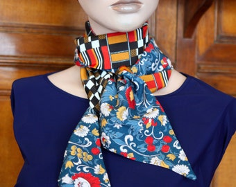 Lavallière, Woman's Tie, Damier Fine Scarf and Orange-Blue Flowers. Retro Scarf Creation Laine Tartine. Acetate and Cotton