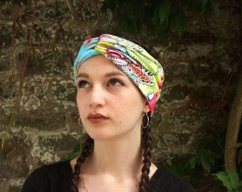 Bandeau, Turban, Summer Boho Hairstyle with Flowers in tulle-fresh and cotton jersey. Summer band. Tartine de Laine
