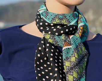 Woman black scarf with polka dots and ethnic in cotton net and viscose crepe. Slice of wool
