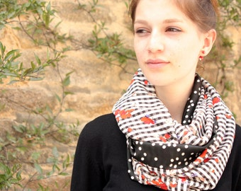 Stole shawl infinity scarf, Snood with gingham flowers and white polka dots. Lightweight scarf. Slice of wool