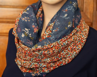 Woman Snood in blue and orange flowers in viscose and cotton shawl. Infinity scarf with flowers. Slice of wool