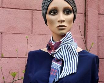 Scarf, Blue-White Rose Lavallière with Stripes and Cotton Patterns. Men's/Female Lavallière. Tartine de Laine