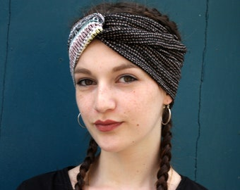 Turban headband brown-white-yellow-pink ethnic patterned. Original hairstyle Jersey headband