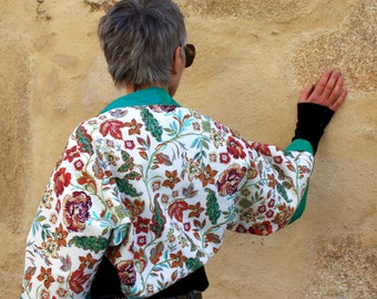 Boléro-Kimono Woman, Bolero Jacket Spring Summer flowers and stripes. Tartine de Laine