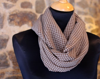 Stole-shawl Snood scarf Camel Plaid viscose chiffon. Retro Snood