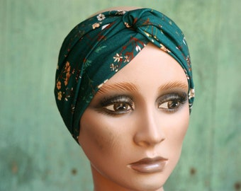 Bandeau-Turban woman Emerald Green with Small Flowers. Headband in cotton jersey. Tartine de Laine