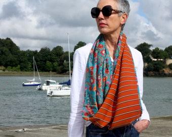 Infinite female scarf Orange burned with black white stripe and Blue with orange flowers acolie. Light scarf. Tartine de Laine