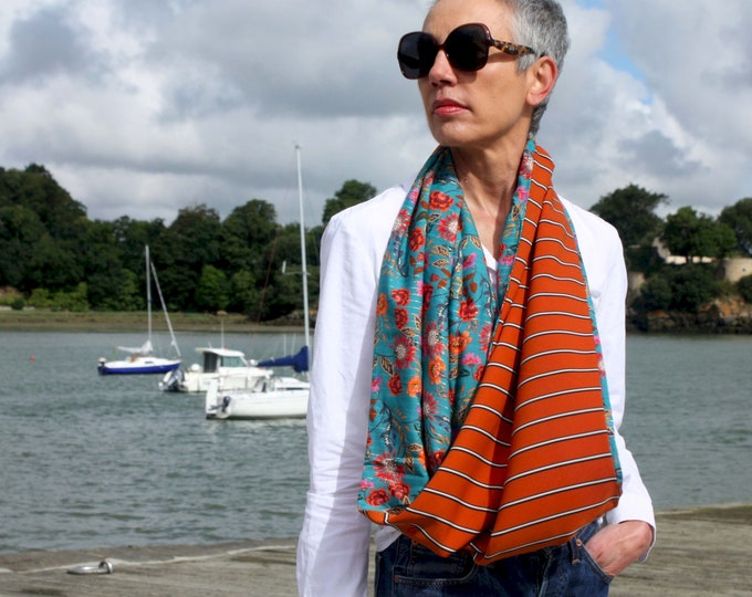 Featured listing image: Infinite female scarf Orange burned with black white stripe and Blue with orange flowers acolie. Light scarf. Tartine de Laine