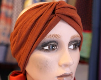 Retro plain brown copper wool and Cotton Jersey headband-Turban. Women hair accessories. Slice of wool in autumn