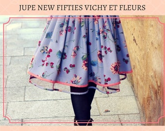 New Fifties Vichy skirt and Flowers. original floral pleated skirt. Rock Swing Rockabilly Skirt