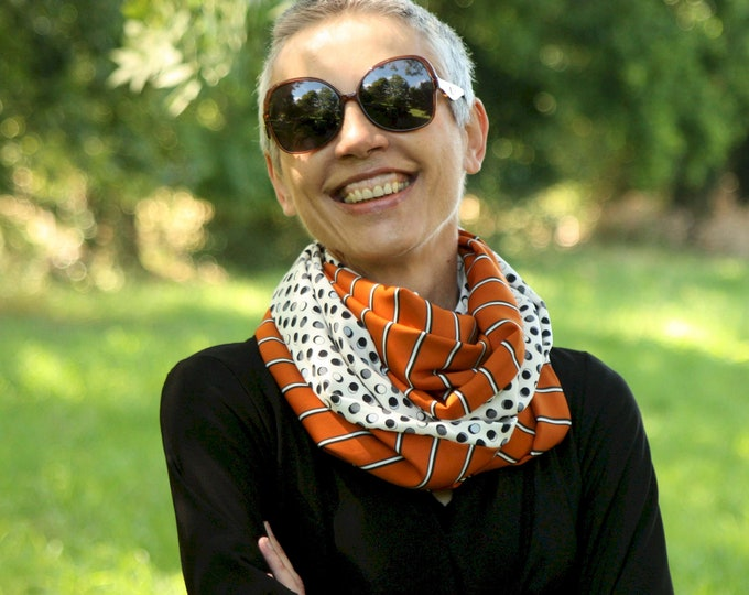 Featured listing image: Infinite scarf or orange-burned orange shawl stole with black white stripe and polka dots. Light scarf. Tartine de Laine