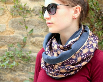 Stole-shawl, scarf with gold blue purple flowers. Boho Choker. Snood scarf. Slice of wool