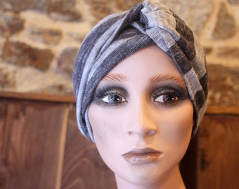 Headband Striped Grey Chiné Clair .  Wool Tartine Accessories Autumn Winter