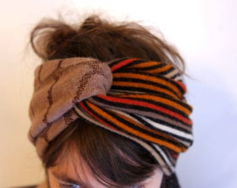 Retro winter headband headband two-tone stripe Orange and Brown