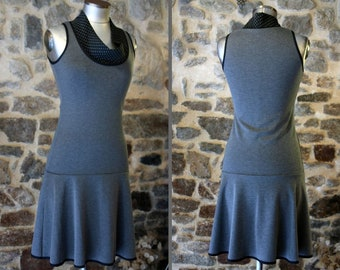 Woman dress sleeveless dark grey, black collar with polka dots Cotton Jersey. Slice of wool