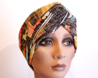 Headband Turban headband bicolor blue and Maroon floral motifs and birds. Retro Turban hair
