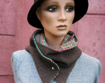 Button collar, brown chevron collar scarf and multicolored cotton Tweed. Wool and cotton collar,