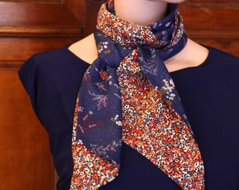 Ascot tie scarf, blue and Orange flowers. Spring scarf women Creation. Slice of wool