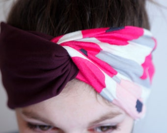 Headband-Turban style Retro bicolor plum and pink flowers with Jersey cotton