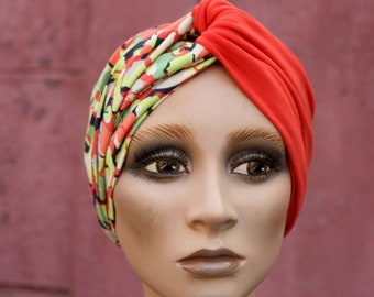 Turban Orange-style female hair headband and Green Apple flower in Jersey Cotton. Jersey Headband. Wool Tartine