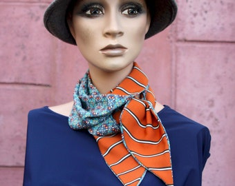 Long orange scarf with black and white stripes and blue patterned, retro women's lavallière in Acetate and Cotton. scarf to tie.