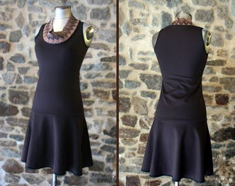 Two-tone brown chocolate collar cowl Chevron Tan dress. Dress size 38 Retro