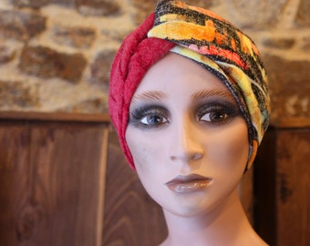 Turban Chiné Yellow-Orange Grey and Pink band in Jersey Lainage . Winter Band Woman Wool Tartine