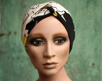 Band-Turban in cotton jersey with graphic patterns and Fleuris Noir écru and Jaune. Headband woman hairstyle.