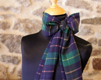 Scarf woman checkered style blue and green tartan viscose chiffon. Slice of wool